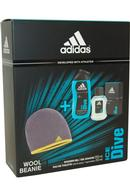 Ice Dive by Adidas Eau de Toilette Spray 50ml Shower Gel 250ml + Beanie Hat