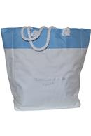 Light Blue Beach Bag White and Blue